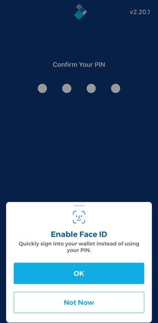 Face ID/PIN választás a blockchain tárcában.