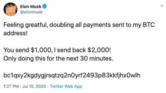 A bitcoin csalók által közzétett Twitter bejegyzés Elon Musk Facebook oldalán